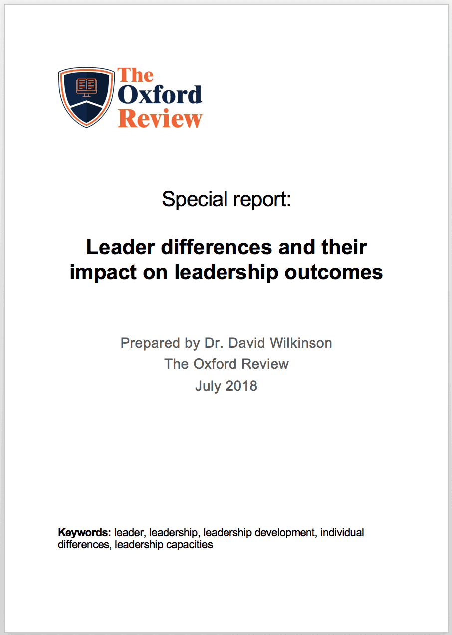 Special report: Leader differences and their impact on leadership outcomes